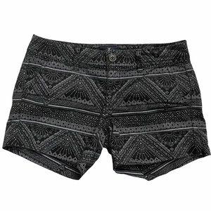 American Eagle Black Aztec Print Midi Shorts